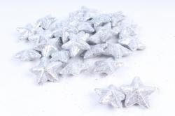 Декоративный наполнитель с глиттером (пенопласт) 2см, серебряный, Звезда 3см ABJ420520(А)