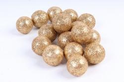 Декоративный наполнитель с глиттером (пенопласт) 2cm, золотой, Шарики 3см  ABJ420500(А)