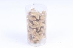 Декоративный наполнитель с глиттером (пенопласт) 2cm, золотой, Звезды 3см  ABJ420500(А)