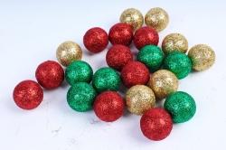Декоративный наполнитель Шарики с глиттером (пенопласт) красн, зелен, золот.  D=4см САА715460
