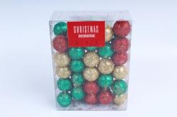 Декоративный наполнитель Шарики с глиттером (пенопласт) красн, зелен, золот.  D=2см САА715460