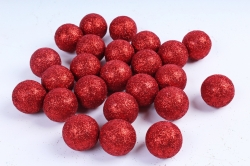 Декоративный наполнитель Шарики с глиттером (пенопласт) красный D=4см САА715420