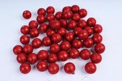 Декоративный наполнитель Шарики с глиттером (пенопласт) красный D=2см САА715420