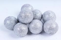 Декоративный наполнитель Шарики с глиттером (пенопласт) серебро D=5см САА715410