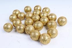Декоративный наполнитель Шарики с глиттером (пенопласт) золото D=4см САА715400