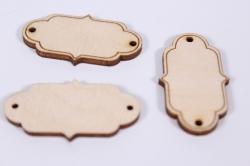 деревянная заготовка - бирка №32, 4,5*2,5см, набор 3шт, фанера 3мм,  302074