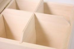 деревянная заготовка - чайная коробка на 4 отделения 16x16см h=9см