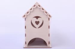Деревянная заготовка - Чайный домик с сердечком 9*9*16см, фанера 3мм 503270
