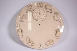 Деревянная заготовка - Часы Футбол, d=30см, основа фанера 6мм, накладки фанера 3мм  201034
