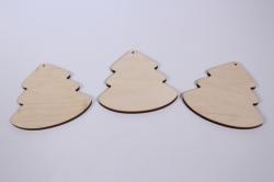деревянная заготовка - ёлка без ствола 9*8см,  3шт, фанера 4мм набор 302013