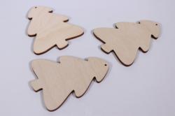 деревянная заготовка - ёлка пряничная 9*7см,  3шт, фанера 4мм набор 302012
