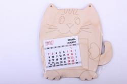 Деревянная заготовка - Календарь Кот, календарь в комплекте 7,5*6,5см, фанера 4мм  108027