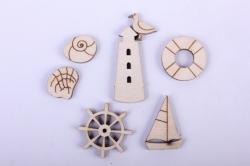 Деревянная заготовка - Мининабор морской: штурвал 2,5см, спасат.круг, маяк 3,5см, чайка, ракушка 2шт 1,5см, корабл 402083