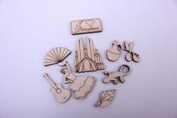 Деревянная заготовка - Набор Барселона, фигурки 2-5см, фанера 3мм  001006