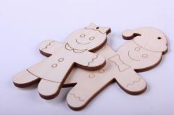 Деревянная заготовка - Набор пряничные человечки: девочка 6*8см, мальчик 6*9см, фанера 4мм 101049