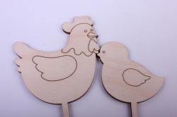 """деревянная заготовка - набор топперов """"курица и цыпленок"""" курица 18*7,5см, цыпленок 15,5*5,5см, фанера 3мм 402068"""