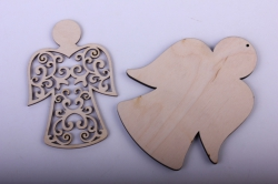 Деревянная заготовка - Накладка ангел ажурный 12*10см, основа фанера 6мм, накладка фанера 3мм  108047