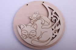 Деревянная заготовка - Накладка Кошечки на луне №1, диаметр 12см, основа фанера 6мм, накладка фанера 3мм  108082