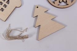 деревянная заготовка - новогодние подвески набор №6 5см, фанера 3мм,  302028
