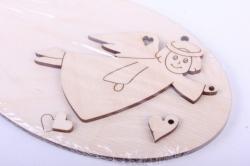 деревянная заготовка - панно с подвесками ангел: панно 15*9,5см, ангел 9*6см, сердце 1*2см-1*1см,   103001