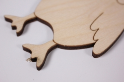 деревянная заготовка - петух с гребешком 6,5*12см, фанера 4мм.  101070