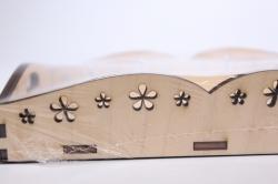деревянная заготовка - поднос с цветами малый 13*20см, фанера 6мм, дно 4мм 503304