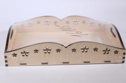 деревянная заготовка - поднос с цветами средний 20*30см, фанера 6мм, дно 4мм 503305