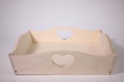 деревянная заготовка - поднос с ручкой сердечко маленький 25х25 h=7см