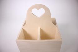 Деревянная заготовка - Подставка для бутылок с сердечком 19x19см h=14см