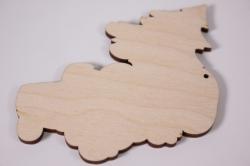 деревянная заготовка - санта с елкой 9см, фанера 4мм (код 108012)