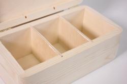 деревянная заготовка - шкатулка на 3 отделения 21*11см, h=8см