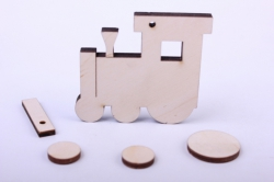 Деревянная заготовка - Сувенир Паровозик 6*5см, основа фанера 6мм, накладка фанера 3мм 108054