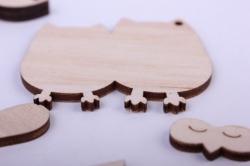 деревянная заготовка - сувенир совы - высота 6см, основа ветка фанера 6мм, прочее фанера 3мм  108057