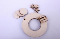деревянная заготовка - сувенир венок с апельсинами, диаментр венка 6см, основа фанера 6мм, накладка фанера 3мм 108050
