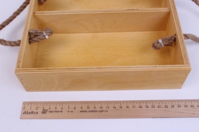 деревянныйящик-поддонсперегородкамиибоковымиверёвкамиlнатуральный25*25*6см