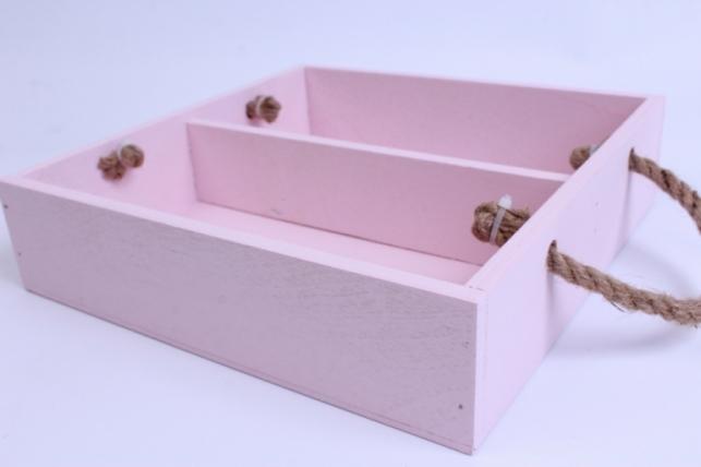 деревянныйящик-поддонсперегородкамиибоковымиверёвкамиlрозовый25*25*6см