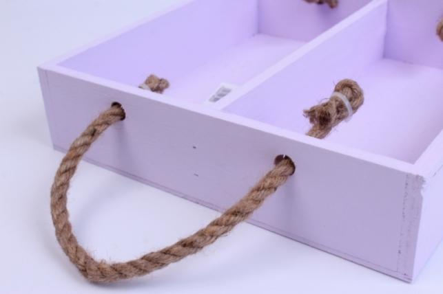 деревянныйящик-поддонсперегородкамиибоковымиверёвкамиlсиреневый25*25*6см