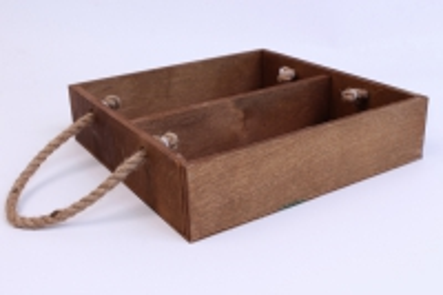 деревянныйящик-поддонсперегородкамиибоковымиверёвкамиlтёмно-коричневый25*25*6см