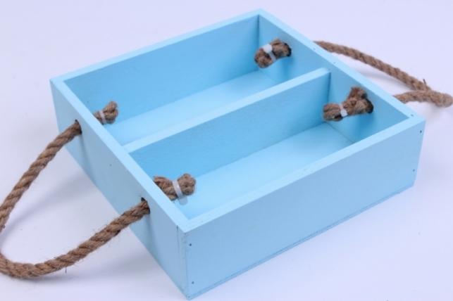 деревянныйящик-поддонсперегородкамиибоковымиверёвкамимголубой20*20*6см