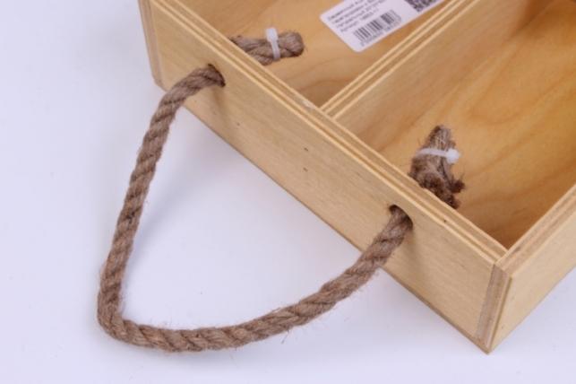 деревянныйящик-поддонсперегородкамиибоковымиверёвкамимнатуральный20*20*6см