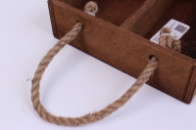 деревянныйящик-поддонсперегородкамиибоковымиверёвкамимтёмно-коричневый20*20*6см