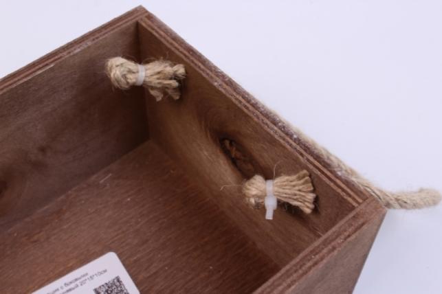 деревянныйящиксбоковымиверёвкамиlкоричневый20*15*10см