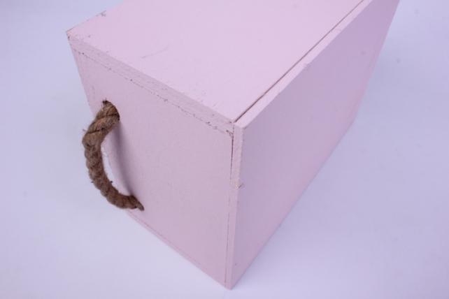 деревянный ящик с боковыми верёвками l розовый 20*15*10см