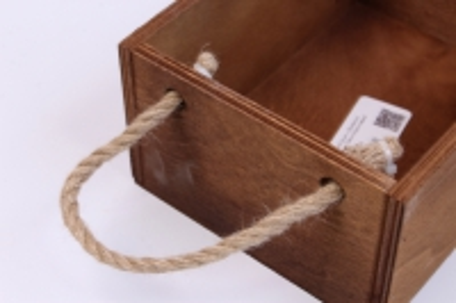 деревянныйящиксбоковымиверёвкамиlтёмно-коричневый20*15*10см