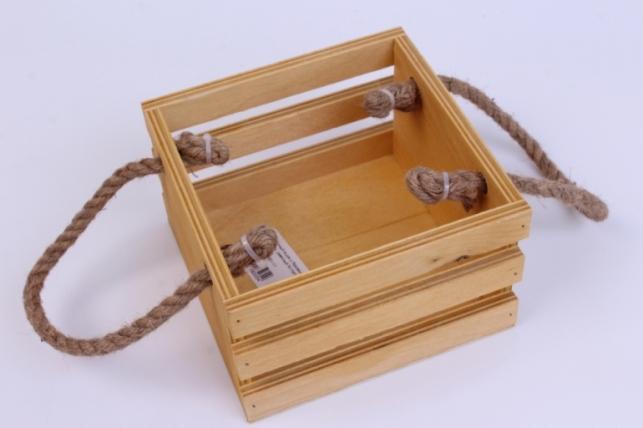 деревянныйящиксбоковымиверёвкамиреечныймнатуральный15*15*10см