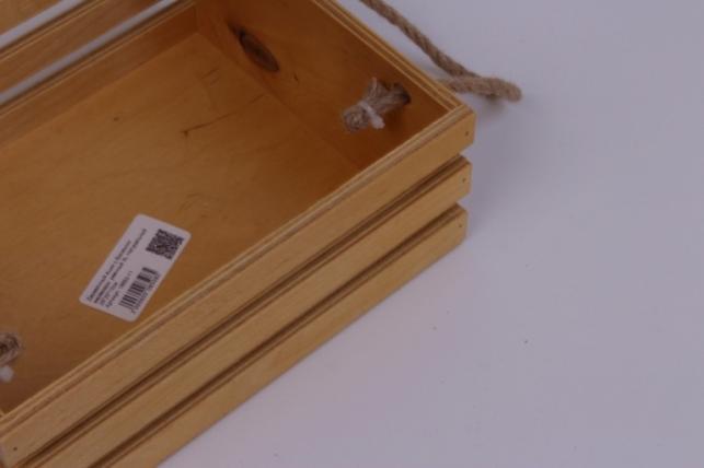 деревянныйящиксбоковымиверёвкамиреечныйxlнатуральный25*20*10см