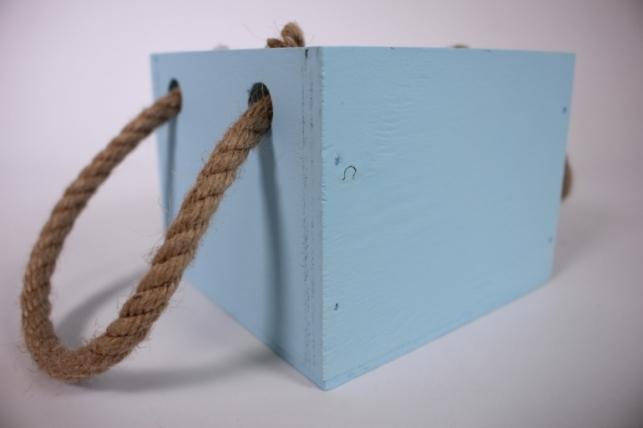 деревянныйящиксбоковымиверёвкамиsголубой12*12*10см