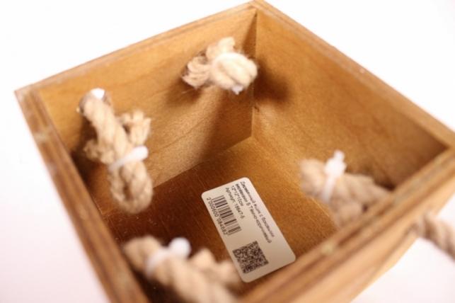 деревянныйящиксбоковымиверёвкамиsтёмно-коричневый12*12*10см