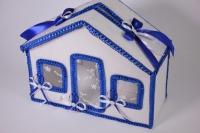 Домик свадебный для денег - бело/синий (16) 33x13см h=26см