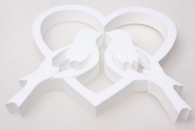 Два голубя в сердце из пенопласта 25х20х3см (1шт в уп) 03-Г